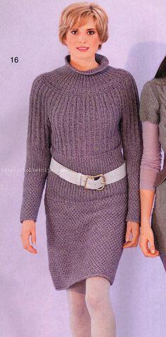 Вязаное платье с круглой кокеткой   Своими руками — интернет журнал