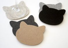 A fun new addition to my shop! CATS! The purrfect coaster for cat lovers with all the luxury and beauty of ultra thick 100% German Merino Wool Felt.