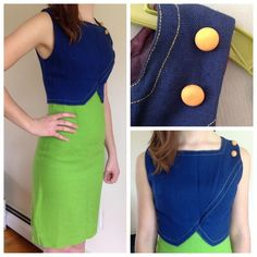Mint condition vintage 1960s blue & green dress Very unusual loose weave, fully lined dress.  Dorothy Bullitt brand.  Sleeveless navy blue upper w/ 2 plastic buttons on left shoulder.  Lower part is lime green and about knee length.  Zips up the back.  Measures at 26 inch waist and 31 inch bust. Vintage Dresses Midi