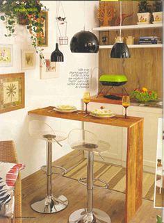 mesa de apoio One Wall Kitchen, Studio Kitchen, Kitchen Sets, Kitchen Dining, Kitchen Decor, Sweet Home, Home Bar Decor, Small Apartment Kitchen, Aesthetic Room Decor