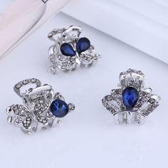 hair clips for women crystal: Cheapest Mini Small Blue Flower Silver Filigree Je...