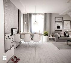 Czarno białe mieszkanie z antresolą - Średni salon z jadalnią z tarasem / balkonem, styl skandynawski - zdjęcie od eldevision
