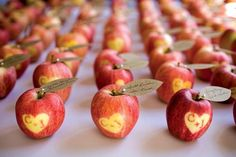 These apple place settings are almost too adorable to eat.