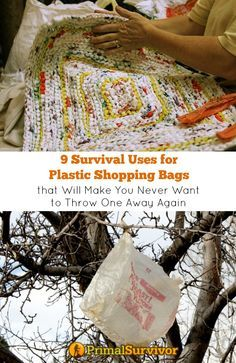 Know these survival uses for plastic shopping bags and you will be able to harvest water, make your own supplies, create cordage, and much more. Survival Food, Outdoor Survival, Survival Knife, Survival Prepping, Emergency Preparedness, Survival Skills, Survival Hacks, Survival Supplies, Emergency Supplies