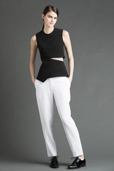 Yigal Azrouël | Resort 2015 | 03 Black cut out sleeveless top and white trousers