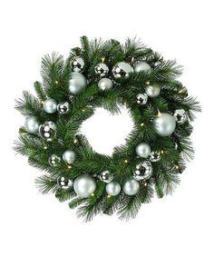 Look what I found on #zulily! Mixed Pine & Silver Ball Wreath #zulilyfinds