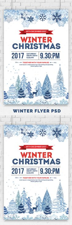 Winter Christmas Party Flyer — Photoshop PSD #snowflakes #cold • Available here ➝ https://graphicriver.net/item/winter-christmas-party-flyer/20958086?ref=pxcr
