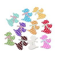 50PCs Wooden Buttons Mixed Color Dog Shape Dots 2-hole Sewing Scrapbooking DIY