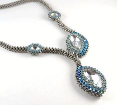 Siamese Marquis Necklace Silver & Blue Beading Kit * PreOrder
