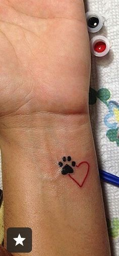 Pet memorial                                                                                                                                                      More Small Tattoos, Body Art Tattoos, Dog Paw Tattoos, Pet Memory Tattoos, Pet Tattoo Ideas, Mini Tattoos, Tiny Cat Tattoo, Cat Paw Print Tattoo, Puppy Tattoo
