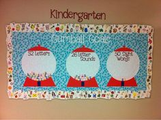 Bulletin board for letter and sight word goals