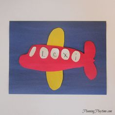 Airplane Name Craft activity for preschool, and other cute name crafts. Airplane Name Craft activity for preschool, and other cute name crafts. Preschool Name Crafts, Daycare Crafts, Toddler Crafts, Kindergarten Crafts, Airplane Activities, Airplane Crafts, Preschool Activities, Train Activities, Transportation Theme Preschool