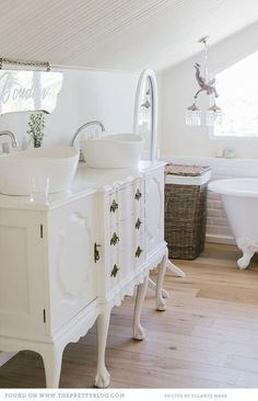 Farmhouse Style Bathroom. Im looking for the perfect furniture style vanity for double vessel bowl sinks