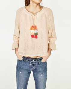 Image 2 of TOP WITH POMPOM DETAIL from Zara