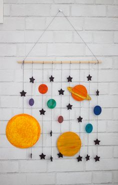 DIY Space Mobile Craft - Honeybear Lane : Make your boys room space themed with this cute DIY space mobile craft--takes less than an hour, is inexpensive, and is super fun to make! Space Crafts For Kids, Diy For Kids, Kids Crafts, Diy And Crafts, Arts And Crafts, Paper Crafts, Outer Space Crafts, Space Party, Space Theme