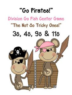 A Go Fish Game For The Not So Tricky Division Facts ~ Go Pirates!  The 3s, 4s, 9s ~By www.FernSmithsClassroomIdeas.com