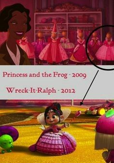 """Charlotte la Bouff from Princess and the Frog has Vanellope Von Schweetz dress in her room, I noticed this today and had to make a thing! Disney Jokes, Funny Disney Memes, Disney Nerd, Disney Facts, Disney Marvel, Cute Disney, Disney Cartoons, Pixar Theory, Disney Theory"