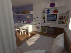 Quarto de Menina com Escrivaninha. Projeto: Escritório de Arquitetura Servino e Assed Renderização: Estúdioi - Desenhos em 3D e Renderização de Imagens para Arquitetura