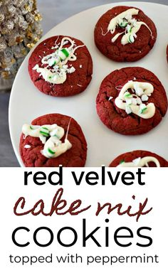 These red velvet cookies have the most delicious red velvet flavor and are topped with peppermint icing. They turn out soft and chewy with a beautiful red color makes them perfect for Valentine's Day, or Christmas.
