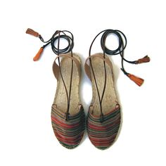 Espadrille Sandals. Lace up Espadrilles in Orange. Summer Leather and Fabric Shoes. Boho Women's Sandals. Hippie Greek Sandals. Gift for Her