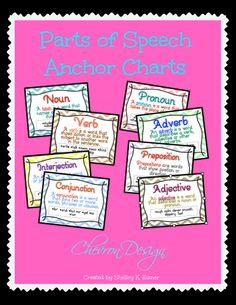 """$These Chevron design Parts of Speech posters look great on walls or bulletin boards. They are perfect for introducing or reviewing parts of speech.  This printable pack includes 8 colorful posters to print on 8.5X11"""" paper.  The posters are available in full color or in a print friendly version.  Also included are several forms for student note taking. There are posters included for: •nouns •verbs •pronouns •adjectives •adverbs •interjections •conjunctions •prepositions"""