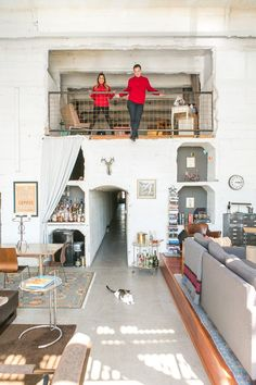 An LA Loft in a Historic Building | Tour an incredibly bold loft full of tunnels, cozy nooks, floor-to-ceiling windows, a Hunter S. Thompson-inspired speakeasy, Moroccan reading nook, mezcal lounge and more.
