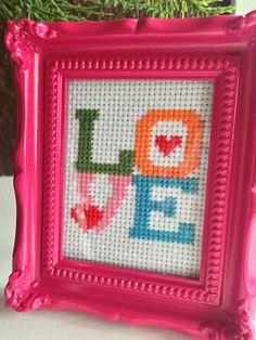 A quick cross-stitch for Valentine's Day.