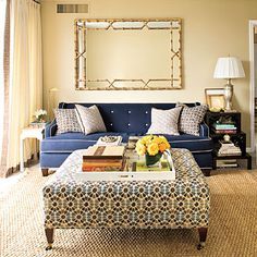 Who said side tables have to match? These two compliment each other nicely. Inspiration via Southern Living. #livingroom #decor