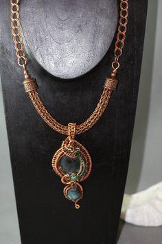 Double Labradorite Copper Wire Wrapped Pendant on Viking Wire: OOAK