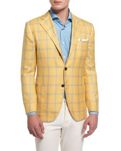 Kiton plaid sport coat. Notch lapel; two-button front. Four-button detail at cuffs. Front patch pockets; chest welt pocket. Double-vented back. Cashmere/silk. Made in Italy.