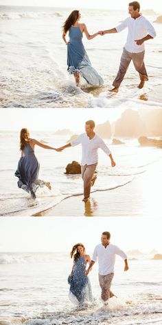 beach wedding couple Beach Engagement Photos - Malibu, CA Couple Plays in the Ocean Together for Sunset Engagement Photos Beste Podcasts, Pre Wedding Praia, Couples Beach Photography, Engagement Photography, Photography Ideas, Couple Beach Pictures, Couple On The Beach, Beach Poses For Couples, The Ocean
