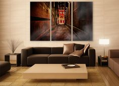 Dark City Canvas Print 3 Panels Print Wall Decor Wall Art Canada Cityscape Photography Print for Home and Office Wall Decoration by ZellartCo TAGS canada abstract art wall art city photography canvas print dark alley goth urban city canvas photo photography art wall decor home decor room decor