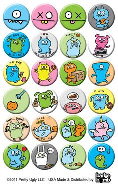 It's the Uglydoll button box from Badge Bomb! and they sure are fugly! There's an assortment of 24 brand new button designs on one inch buttons. Single buttons are chosen randomly....with our off hand