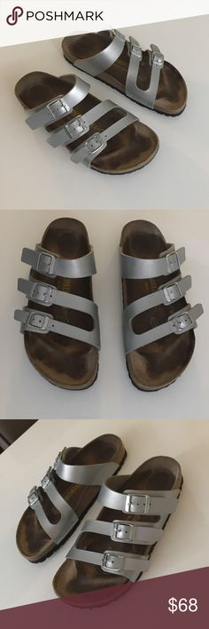 authentic Rare Birkenstock leather sandals 37 6 Excellent condition authentic Rare Birkenstock silver  leather sandals 37 US 6 insoles have marks but everything else looks new! Gorgeous sandals Birkenstock Shoes Sandals