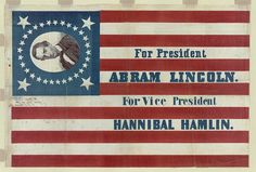 "https://flic.kr/p/7Qeo5c | For president, Abram Lincoln. For vice president, Hannibal Hamlin (LOC) | Howard, H. C.  For president, Abram Lincoln. For vice president, Hannibal Hamlin  [Philadephia : publisher not identified], c1860.  1 print on cotton : color ; image 58.9 x 89 cm.  Notes:  Print shows a large campaign banner for Republican presidential candidate Abraham Lincoln and running mate Hannibal Hamlin. Lincoln's first name is given here as ""Abram."" The banner consists of a ..."