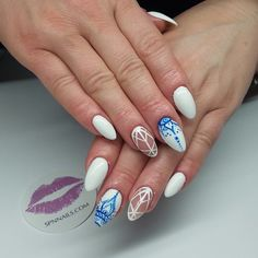 white and blue negative space nail art
