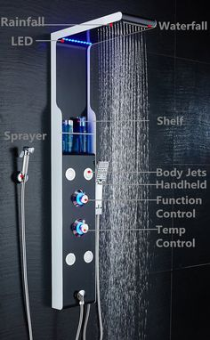 ELLO&ALLO Stainless Steel Shower Panel Tower System LED Rainfall Waterfall Shower Head Faucet Rain Massage System with Body Jets Black and White Shower head faucet with 5 functions rain