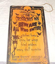 "HALLOWEEN SIGN-THE CROSSBONES INN-9 x 15 3/4""-HARD PLASTIC-BEWARE ALL WHO ENTER! #Halloween"