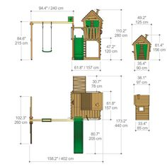 FATMOOSE Wooden Climbing Frame HappyHome Hot XXL with Swing Set and Green Slide, Garden Playhouse for Kids with Sandpit, Climbing Ladder & Play-Accessories Kids Backyard Playground, Natural Playground, Backyard For Kids, Backyard Games, Kids Outdoor Play, Kids Play Area, Cubby Houses, Play Houses, Childrens Garden Toys