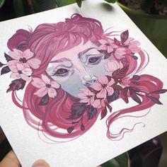"""""""Sakura"""" in gouache on silver paper. I'm going to be reposting these through the day now that I have proper photos of them. ✨ #art #artist #artwork #instaartist #instaart #myart #painting #sakura #cherryblossom #surreal #artcollective #audraauclair"""