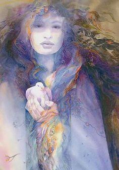 Rhiannon, a Deusa galesa da terra, a fertilidade, cavalos e aves, que também tem ligações com o submundo.