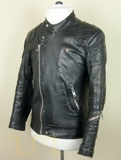 thumbnail image two of this rare vintage leather motorcycle, aviator or biker jacket