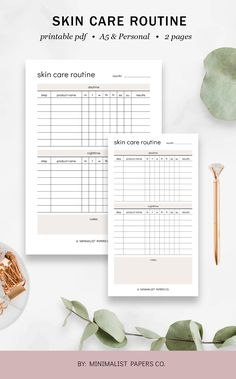 Skincare Routine and Beauty Planner, Skincare Printable and Tracker, Routine Planner and Makeup Planner - A5 & Personal Size For Individual Who Loves Minimalistic And Clean Design, Instant Download! #skincareroutine #skincareroutineplanner #beautyplanenr #etsyplanners #skincareprintable #skincaretracker #makeupplanner #routineplanner Routine Planner, Work Planner, Planner Dividers, Project Planner, Business Planner, Goals Planner, Fitness Planner, Budget Planner, Fitness Goals