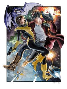 Kitty Pryde and Star-Lord by Daniel Govar