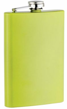 New Yellow Powder Coated 8 oz Stainless Steel Liquor Hip Flask & Filling Funnel