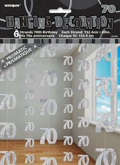 70th Birthday Party Glitz Silver String Decorations