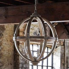 Large Round Wooden Orb Chandelier stunning rustic light faucaults orb design