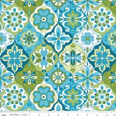 Riley Blake Splendor Ceramic Blue from Designed by Lila Tueller Designs for Riley Blake, this cotton print is perfect for quilting, apparel and home decor accents. Colors include white, shades of blue and shades of green. Fabric Patterns, Print Patterns, Design Patterns, Laminated Cotton Fabric, Decoupage, Textiles, Riley Blake, Green Fabric, Fabric Design