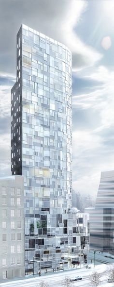 Construction work has started on 100 Avenue - a apartment tower in New York designed by French architect Jean Nouvel. Architecture Design, Installation Architecture, Facade Design, Futuristic Architecture, Beautiful Architecture, Contemporary Architecture, Exterior Design, Building Architecture, Architecture Visualization