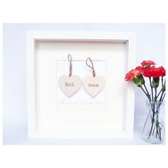 PERSONALISED DOUBLE WOODEN LOVE HEART PICTURE : Barker & Cummings:, Crafted with Care